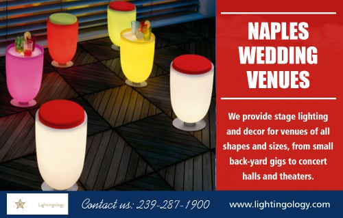 Naples wedding venues for marriages to create a memorable occasion AT https://www.lightingology.com/contact Find us on Goole Map : https://goo.gl/maps/KPoAWh6mkmr Usually, Naples wedding venues come with beautiful decoration and theme. You can either consider a roundtable with a single middle leg or with four legs chairs. Finding the style that matches the decoration of your party is relatively easy and will finish up complimenting the space, and they are a nice change from the traditional square and rectangle dining table. Social :  https://www.ted.com/profiles/11911607 https://profiles.wordpress.org/djpartyrentals https://wiseintro.co/djpartyrentals  ADDRESS — -Naples, FL, 34102 Tel: 239–287–1900 Mail : lightingology@gmail.com