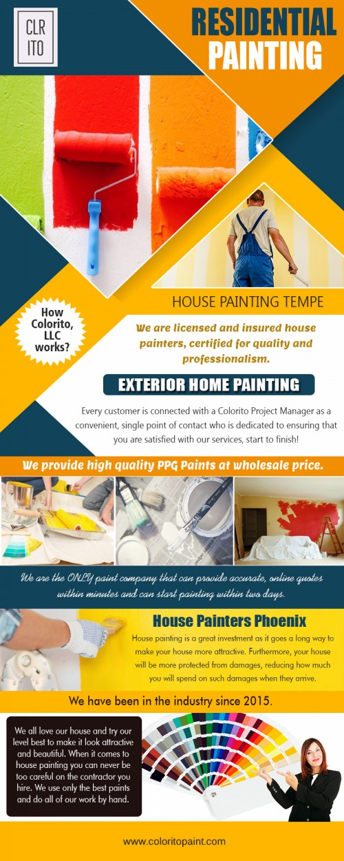 House painting companies service includes interior & exterior house painting at https://coloritopaint.com  We deals in: Residential painting House painting Tempe house painters phoenix house painting companies		  The house painting companies set a very tough standard and competition to other painting companies in the market, providing high-quality silk paints, velvet paints, wallpapers, decorative wall paints, and many other options. Since the variety is not limited, clients get to choose their and design. All painting chores taken up, are carried out with all safety measures to keep all customers secure and give them the best painting experience of their lives.  Address- 456 e Huber st Mesa , Arizona  85203 Call us: (480) 521-8380 mail us: Support@ColoritoPaint.com Message us on facebook: https://m.facebook.com/msg/Coloritopaint/  Social: http://www.facecool.com/profile/ExteriorHomePainting https://www.thinglink.com/ExteriorHome https://www.reddit.com/user/ExteriorHomePainting https://www.unitymix.com/ExteriorHomePainting https://www.diigo.com/user/exteriorhome