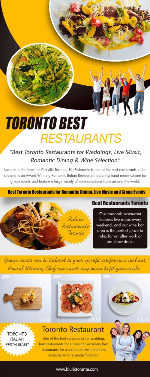 Our Website: http://bluristorante.com Unlike in decades gone by, foreign food is very popular with our culture. We like to be diverse and to try dishes from all over the world. Italian restaurants Toronto do not just serve good priced pizzas and pasta dishes; these days you can expect a full menu of dishes to delight even the most awkward of customer. If you live in any more than a small sized town then you will almost certainly find that there is at least one Italian restaurant waiting to offer you a sample of their rich cuisines. My Profile: https://site.pictures/privatedining More Links: https://site.pictures/image/d4otQ https://site.pictures/image/d5MuP https://site.pictures/image/d5mJq