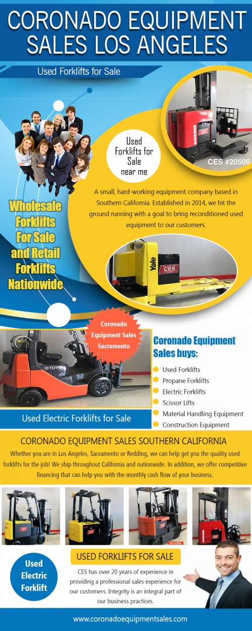 We offer used electric forklifts for sale on reasonable prices at https://coronadoequipmentsales.com/  Find Us: https://goo.gl/maps/E72ETKus2mS2  Moving product is what keeps the business world afloat. When you have thousands of pallets stuffed away in a warehouse, you have to be able to index them quickly and move them just as quickly in order for saving your time. Here is a stock of used electric forklift for sale, buy it for your easy and smooth running operations and to increase the productivity of your warehouse.  Deals In...  Coronado Equipment Sales Coronado Equipment Sales Southern California Coronado Equipment Sales Los Angeles Coronado Equipment Sales Sacramento Coronado Equipment Sales Redding  Street Address: 2275 S La Crosse Ave #210,  City: Colton,  State: California Country: USA Postal Code: 92324  Tel: +1 877-830-7447  Social:  https://twitter.com/CoronadoSales https://plus.google.com/111236995838481861046 https://www.youtube.com/channel/UC0nEpnQCeaqrf1fhoGx5Rnw https://www.instagram.com/coronadoforklifts/ https://www.pinterest.com/CoronadoForklifts/