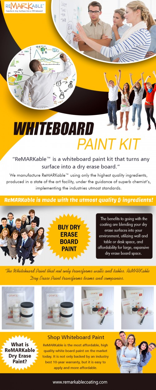 Save on your Dry Erase Paint Kit Purchase today at https://www.remarkablecoating.com/how-it-works/  Services:- whiteboard paint kit dry erase paint kit white board paint kit whiteboard coating dry erase coating  For more information about our services, click below links- https://www.remarkablecoating.com/buy-whiteboard-paint https://www.remarkablecoating.com/whiteboard-wall-meetings-productive/  You can change any type of surface area right into a white boards wall surface that makes use of common dry-erase pens with ReMARKable's whiteboard wall surface paint and also with the cutting-edge ebeam SmartMarker you can currently capture your notes, share them as well as stream them straight from your whiteboard surface area. The incredible innovation will change all conferences as well as aid to turn your suggestions right into fact. White Board Paint Kit have actually constantly been great to assist us develop aesthetic help, understand concepts and brainstorm concepts, and, currently, with the mixed force of Impressive and eBeam, your wall surfaces have simply gotten back at much more powerful.   Contact Us:- 8009362159  Social: https://plus.google.com/u/0/communities/113057645564100783624 https://www.youtube.com/user/RemarkableCoating https://dryrasepaint.wordpress.com/ http://dryerasepaint.tumblr.com/ https://en.gravatar.com/dryrasepaint